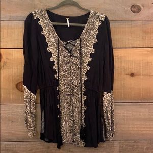 Free People Long Sleeve Top with Tie Front